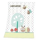 Wolimbo Flausch Babydecke mit Ihrem Wunsch-Namen und Punkte Schmetterling Motiv - personalisierte / individuelle Geschenke für Babys und Kinder zur Geburt, Taufe und Geburtstag - 75x100 cm für Mädchen und Jungen